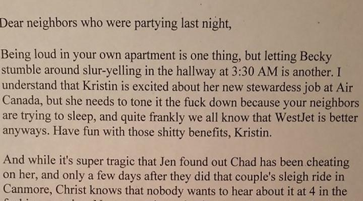 Guy Sends Epic Passive Aggressive Note to Neighbors Who Won