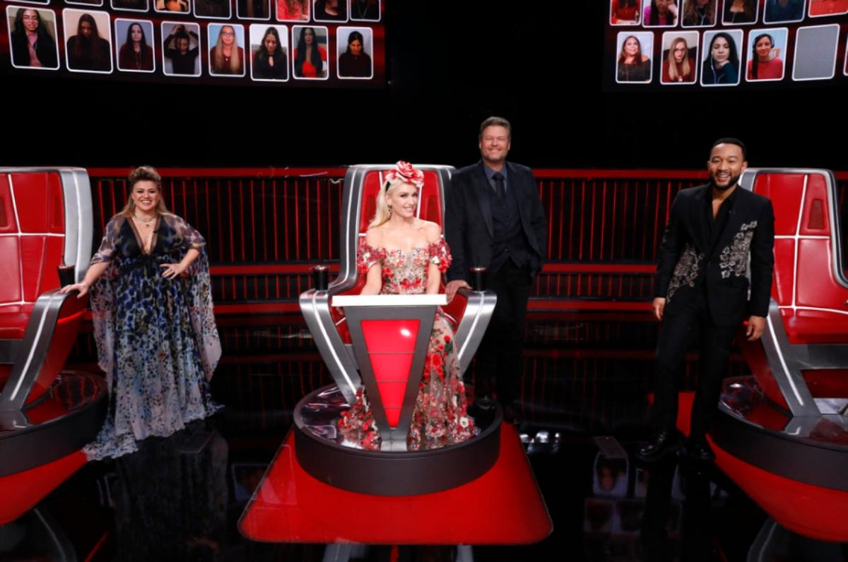 The judges on 'The Voice' on the set of the show.