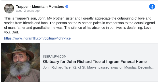 Trapper - Mountain Monsters Facebook page