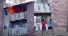 man catches toddler burning building
