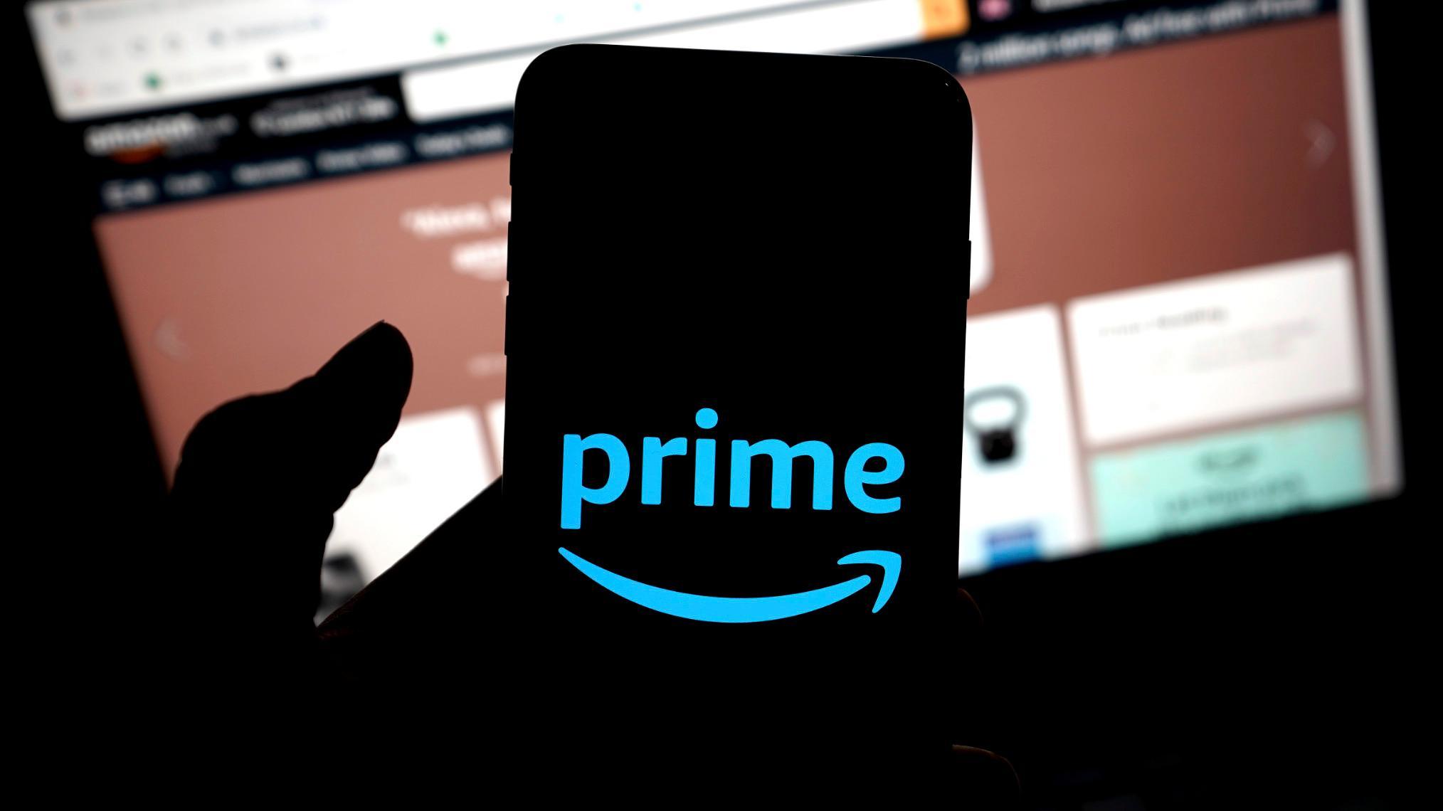 Amazon Prime logo on cell phone