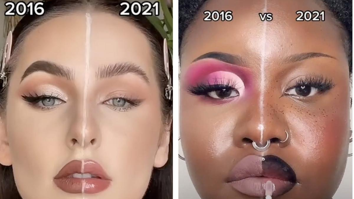 2017 Vs 2021 Tiktok Makeup Challenge