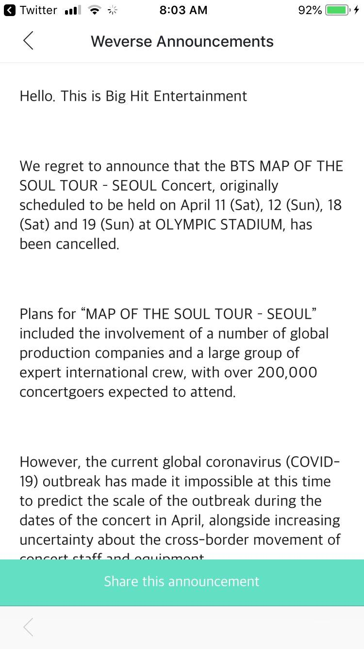 Is Bts Canceling Their Tour In 2020 Here S What We Know So Far