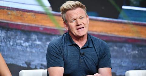 Gordon Ramsay photographed candidly during an interview.
