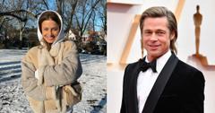 Nicole Poturalski and Brad Pitt pose for photos.