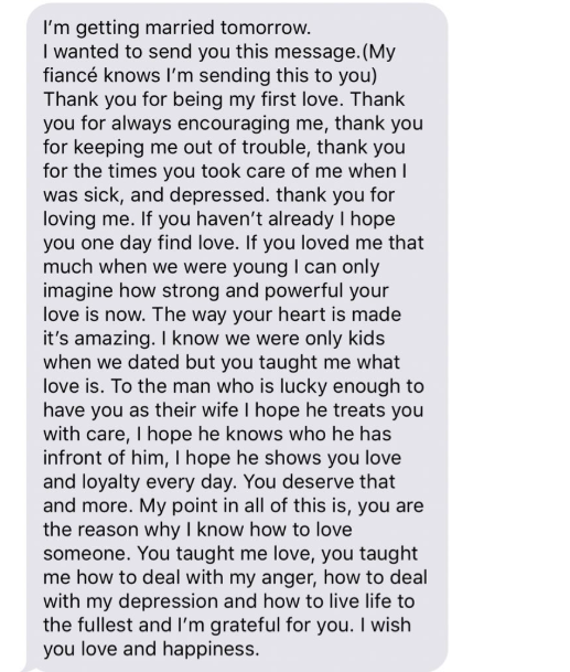 Woman Receives Beautiful Text from Her Ex the Night Before