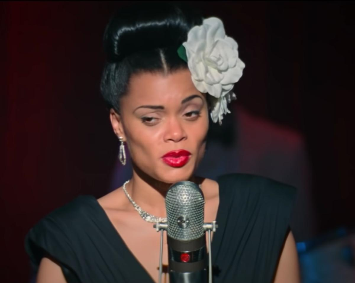 Andra Day as jazz singer Billie Holiday takes the stage to give sing to a live audience.