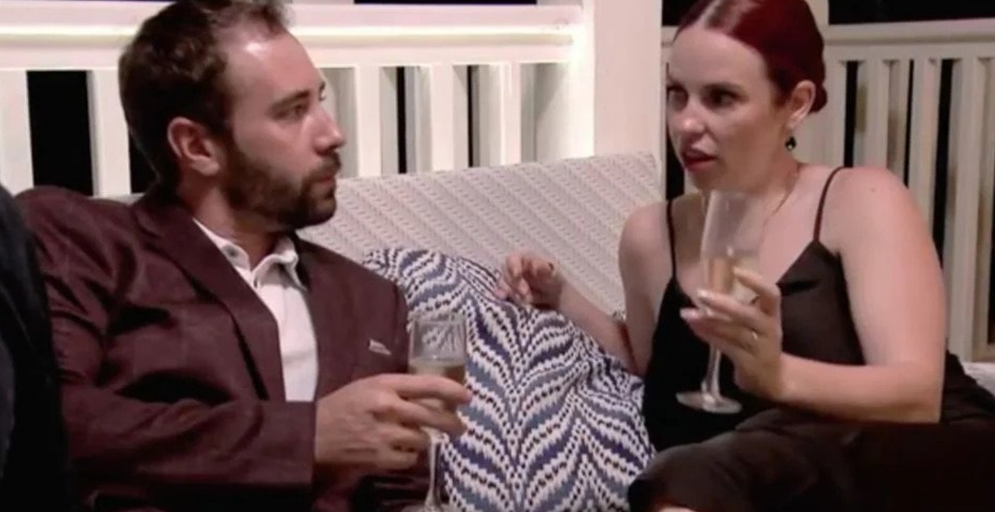 Ryan and Brett having some champagne and conversing on 'MAFS'.