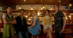 The cast of 'Nancy Drew' on the set of Season 1
