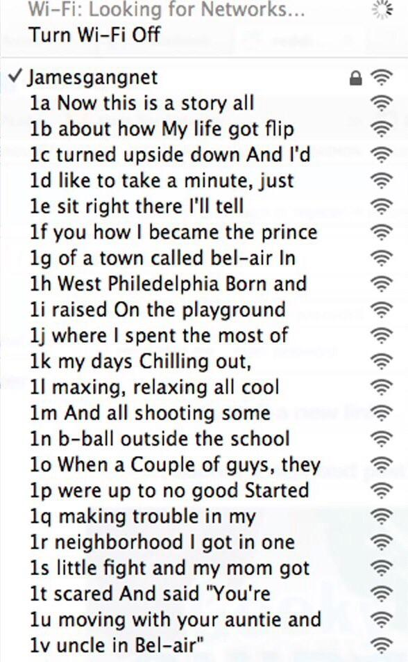 29 Wi-Fi Network Names that Deserve to Be Admired