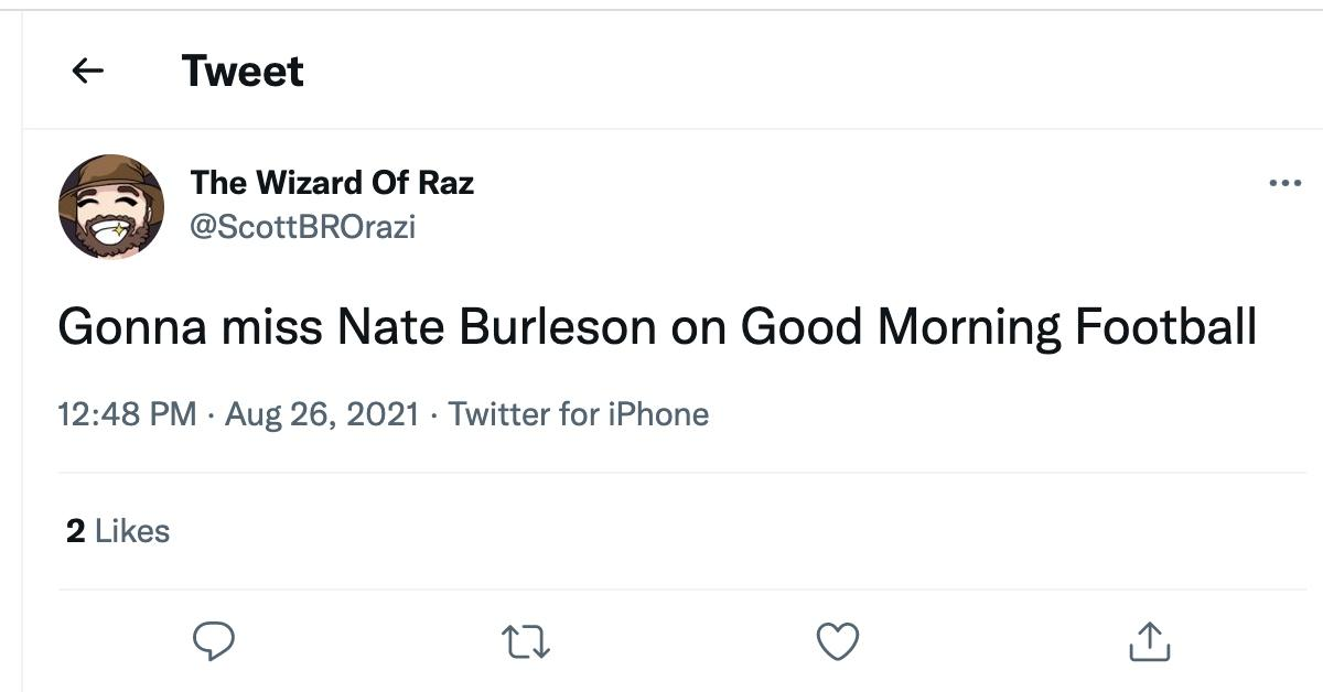 Tweet about Nate Burleson's departure from 'Good Morning Football'