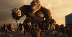 King Kong chained to a dock in the new 'Godzilla vs. Kong' movie.