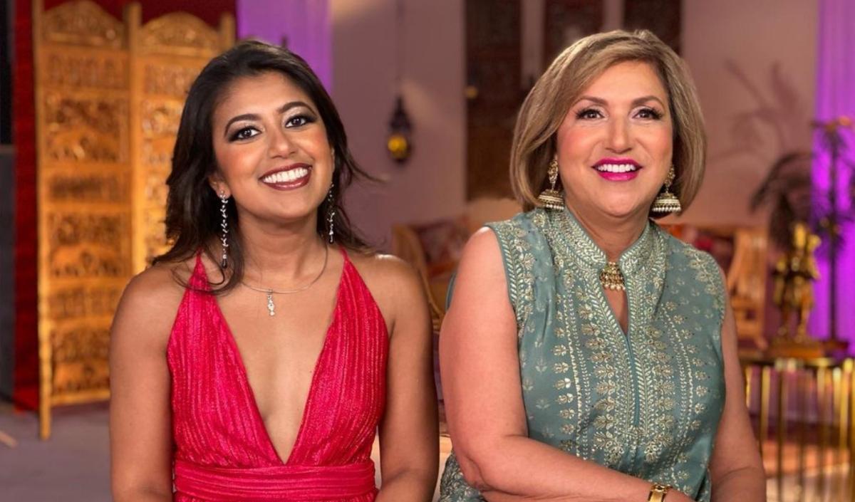 Richa Sadana and her mother Lopa Aunty filming for 'Family Karma'.