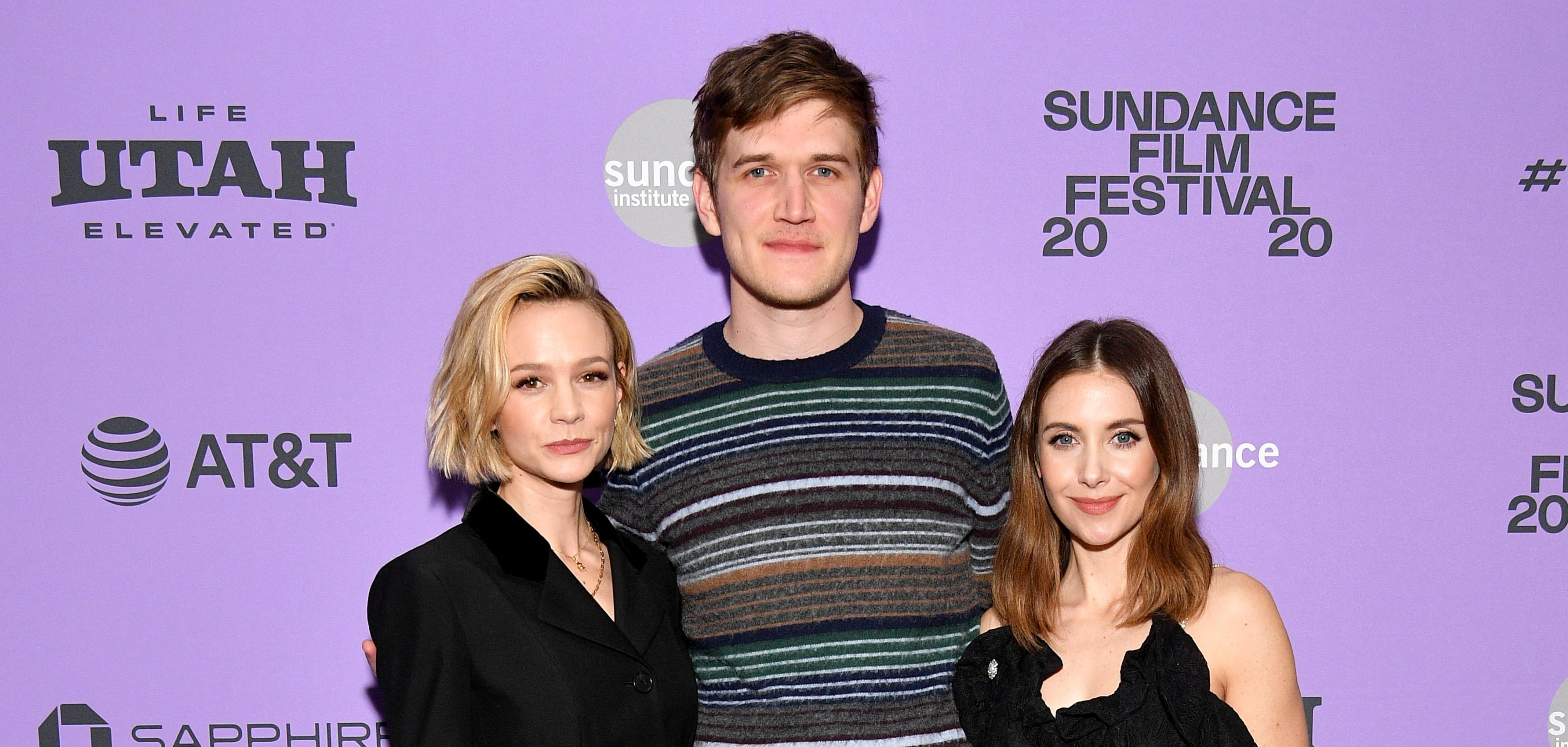 Bo Burnham with co-stars Carey Mulligan and Alison Brie