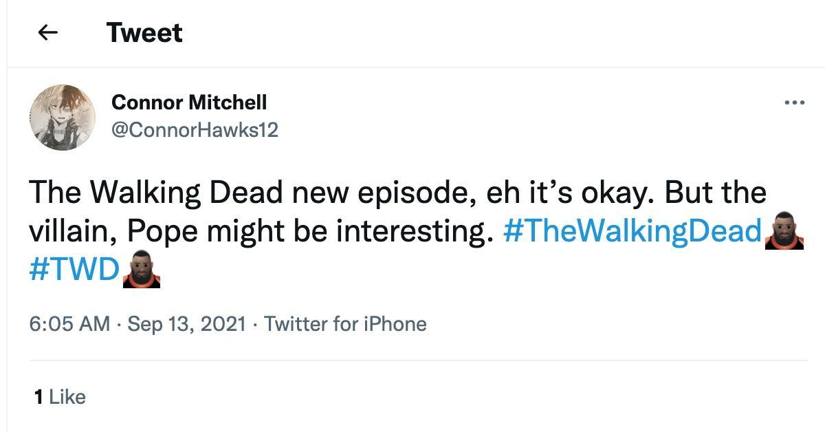 Tweet about Pope in 'The Walking Dead'